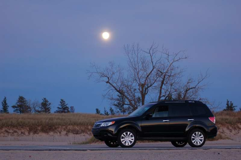 Moonrise over my new Subaru