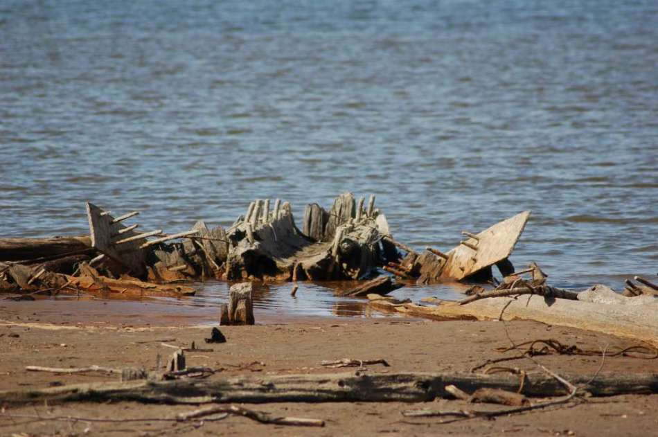 Old boat wreckage