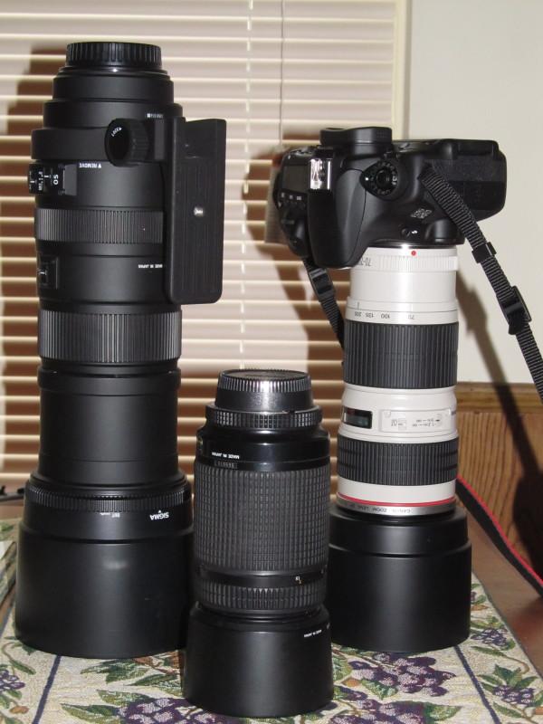 Sigma, Nikon, and Canon lens
