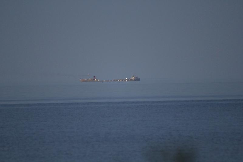 Lake freighter at night