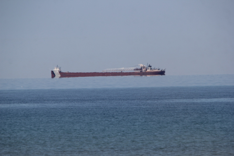 Lake freighter northbound on Lake Huron