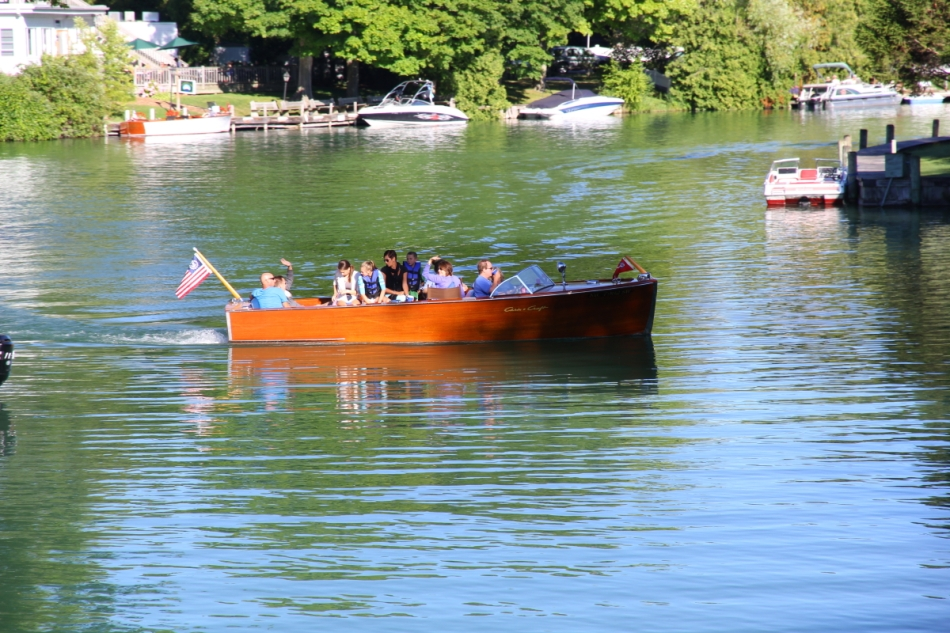 A pretty old time Chris Craft wooden boat
