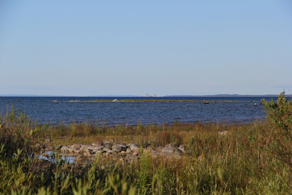 Looking across the Grand Traverse Bay towards Charlevoix, Michigan