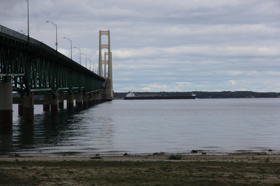 Freighter coming out from under the Mackinac Bridge