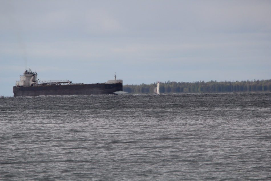 Freighter passing the St. Helena Lighthouse