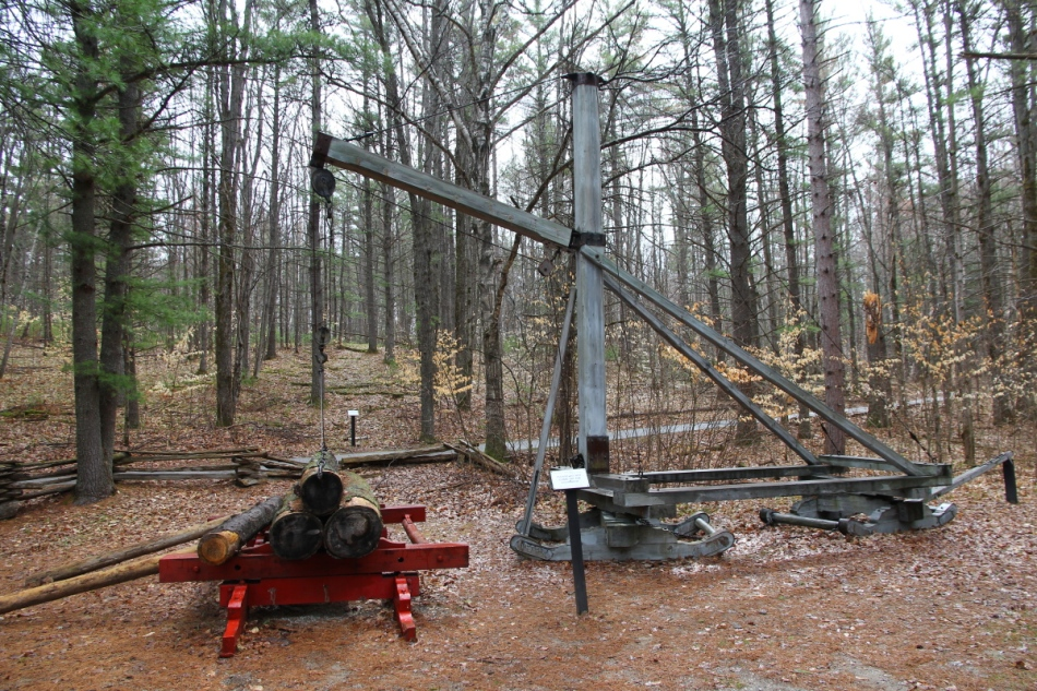 Crane used to lift logs onto sleds in the winter