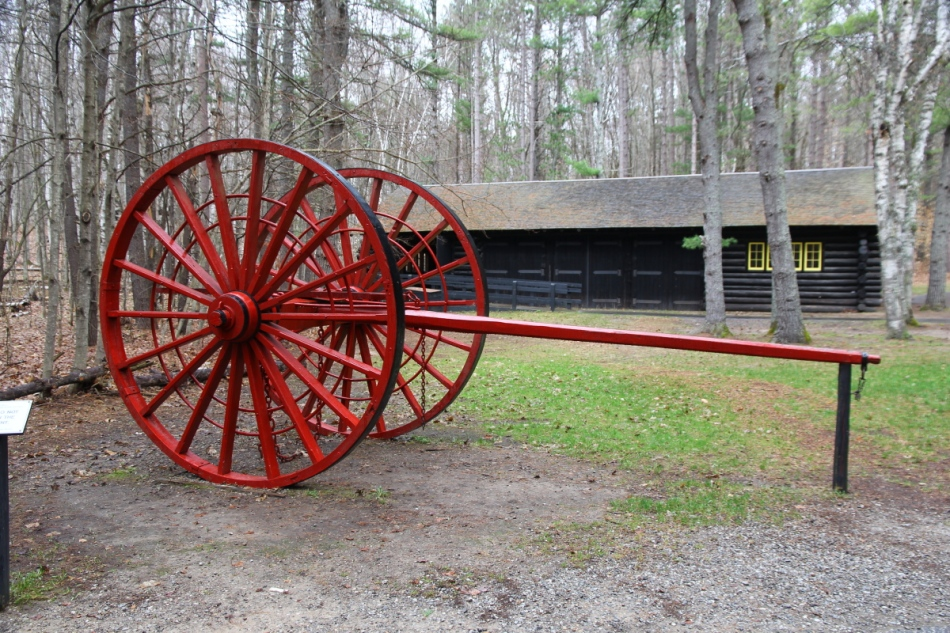 """Big wheels"" used to transport logs in the summer"