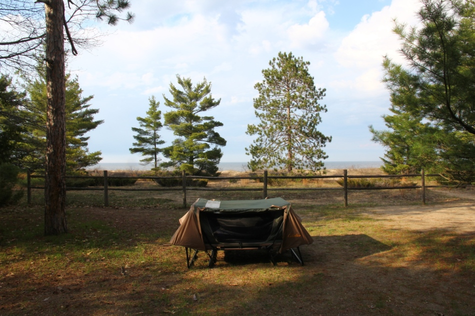My combination tent and cot set up looking out at Lake Huron