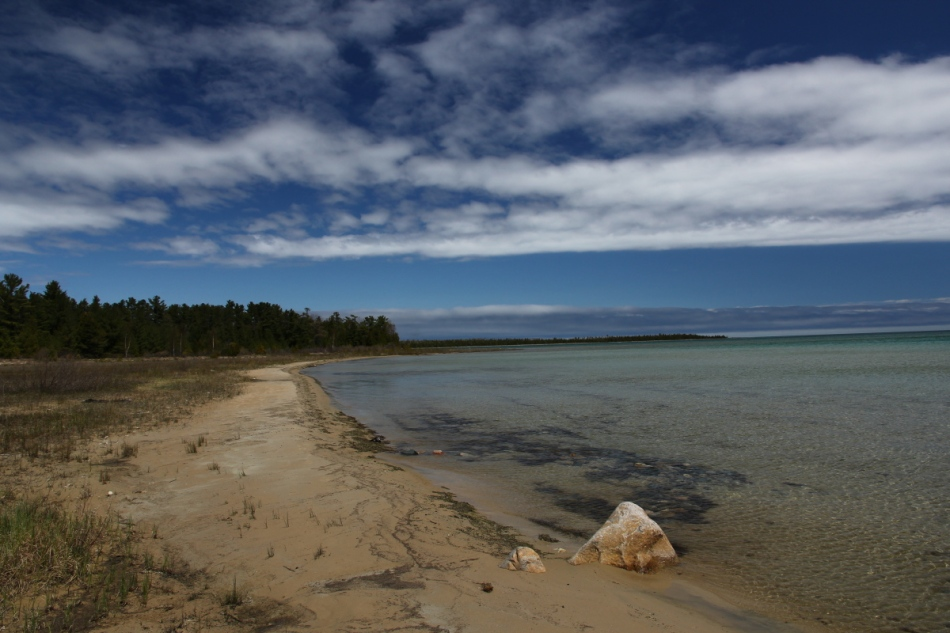 Lake Huron shore at the Besser Natural Area
