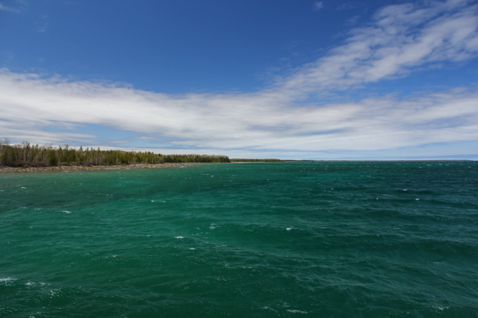 The Lake Huron shore at the Rockport Recreational Area