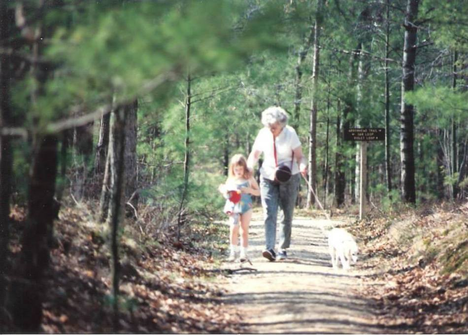 My mom hiking with my niece and my dad.