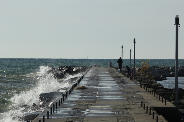 The south breakwall at Muskegon