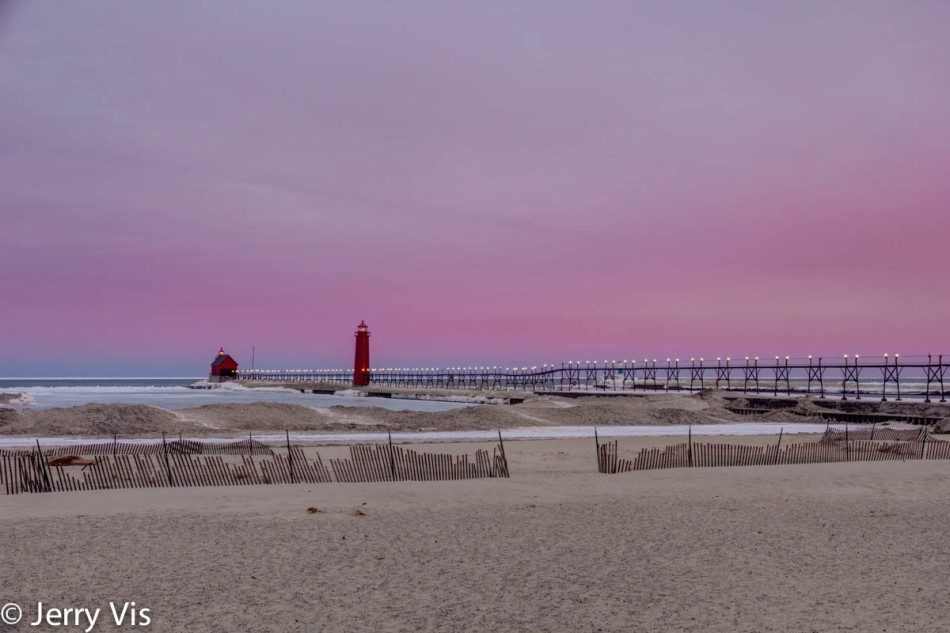 Sunrise at the Grand Haven breakwater