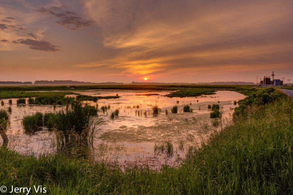 Muskegon marsh sunrise, exposure fusion
