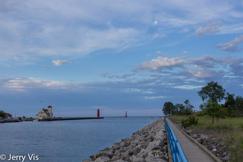 The Muskegon Lake channel to Lake Michigan