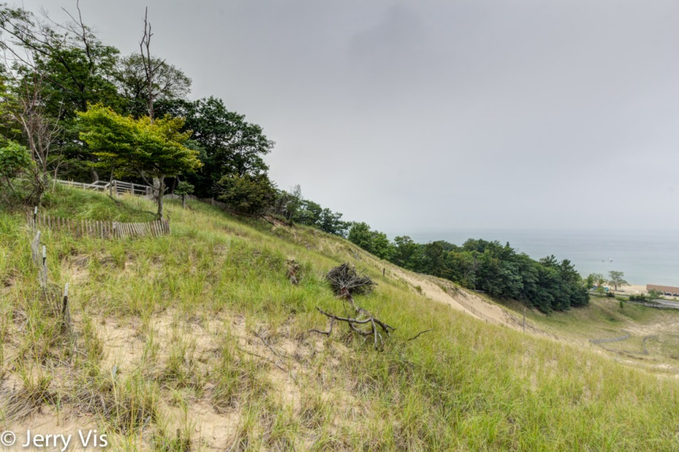 Looking down the dune 3