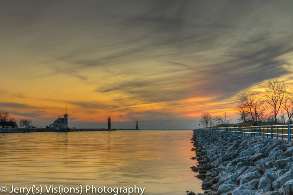 Muskegon Lake channel sunset