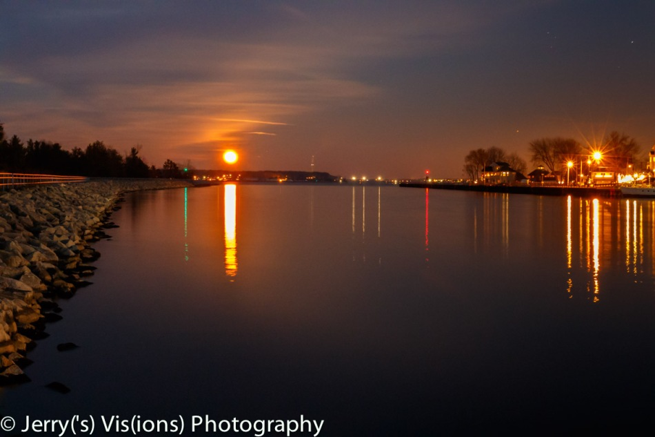 Christmas full moon rising over Muskegon Lake