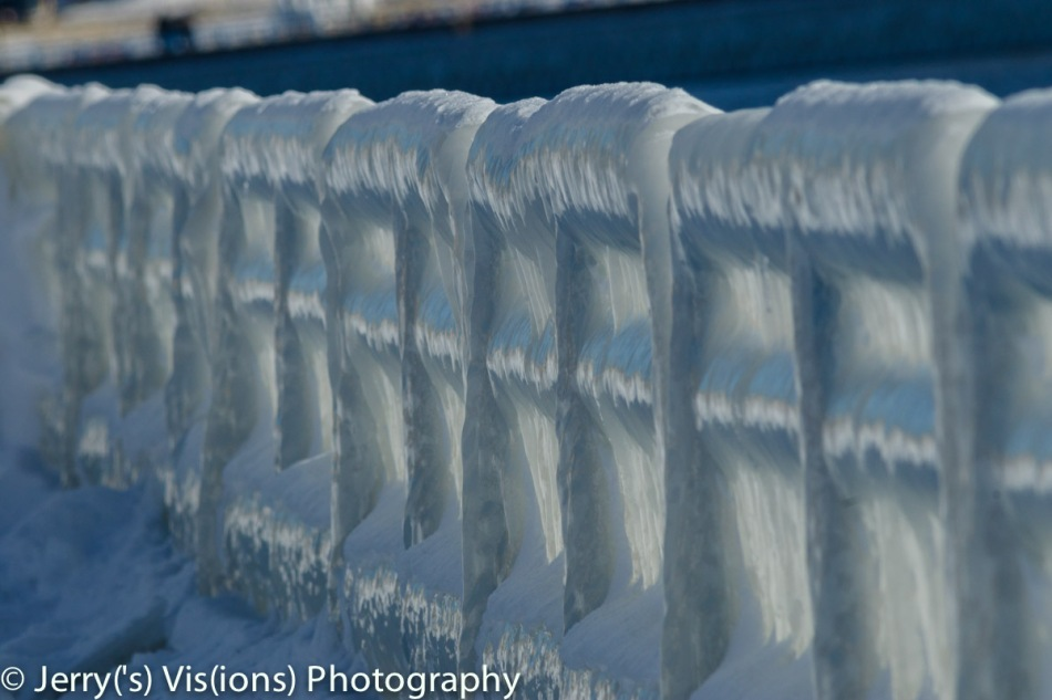 Ice covered railing