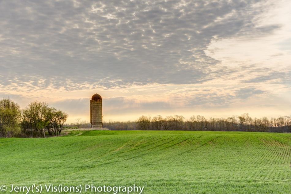 Lone silo at dawn