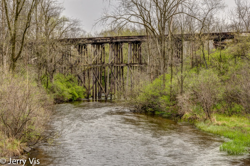 Wooden train trestle over the White River