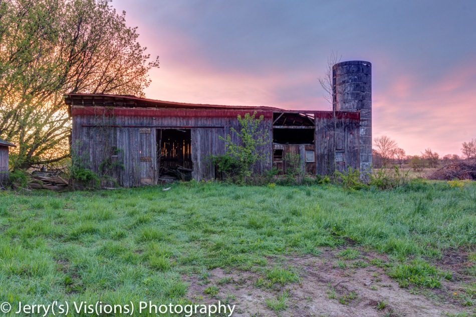 Old barn at sunrise