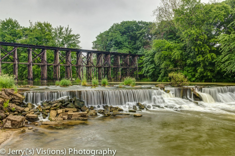 Train trestle and dam in Hamilton, Michigan