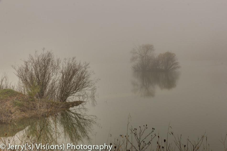 Lone island in the fog