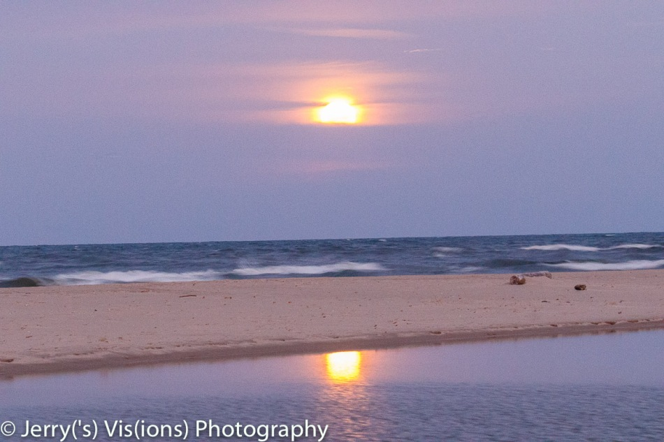 The Super Moon setting over Lake Michigan