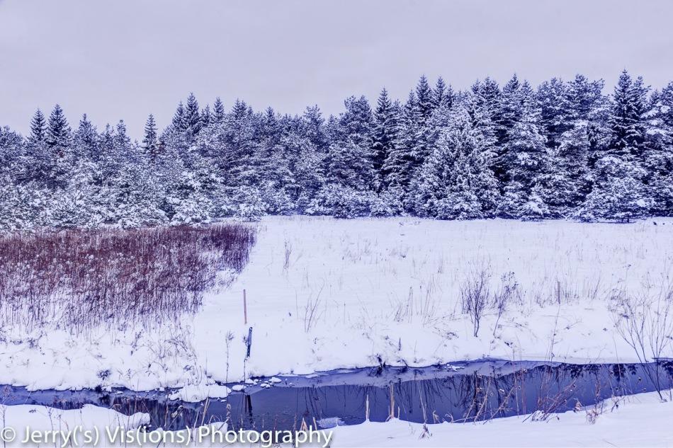 Snow scene before dawn